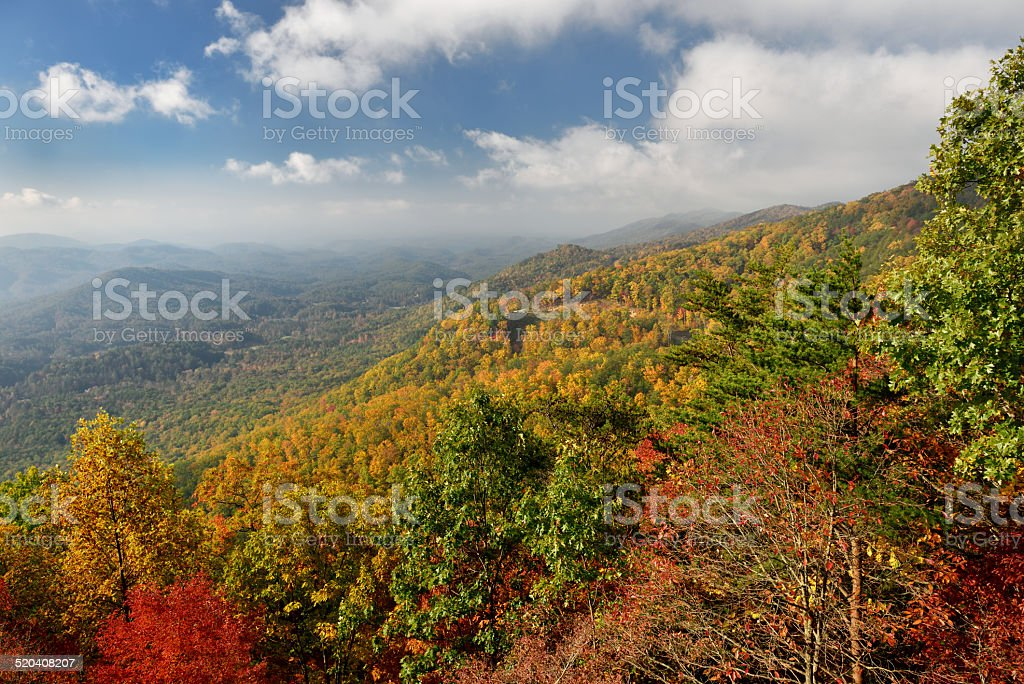 Great Smoky Mountains at Peak of Autumn in Foothills Parkway stock photo