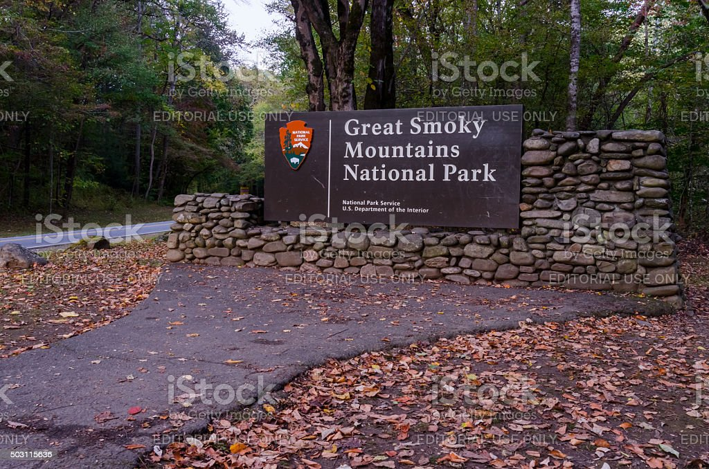 Great Smoky Mountains Entry Sign stock photo