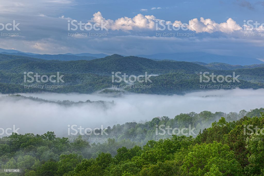 Great Smoky Mountains in Fog stock photo