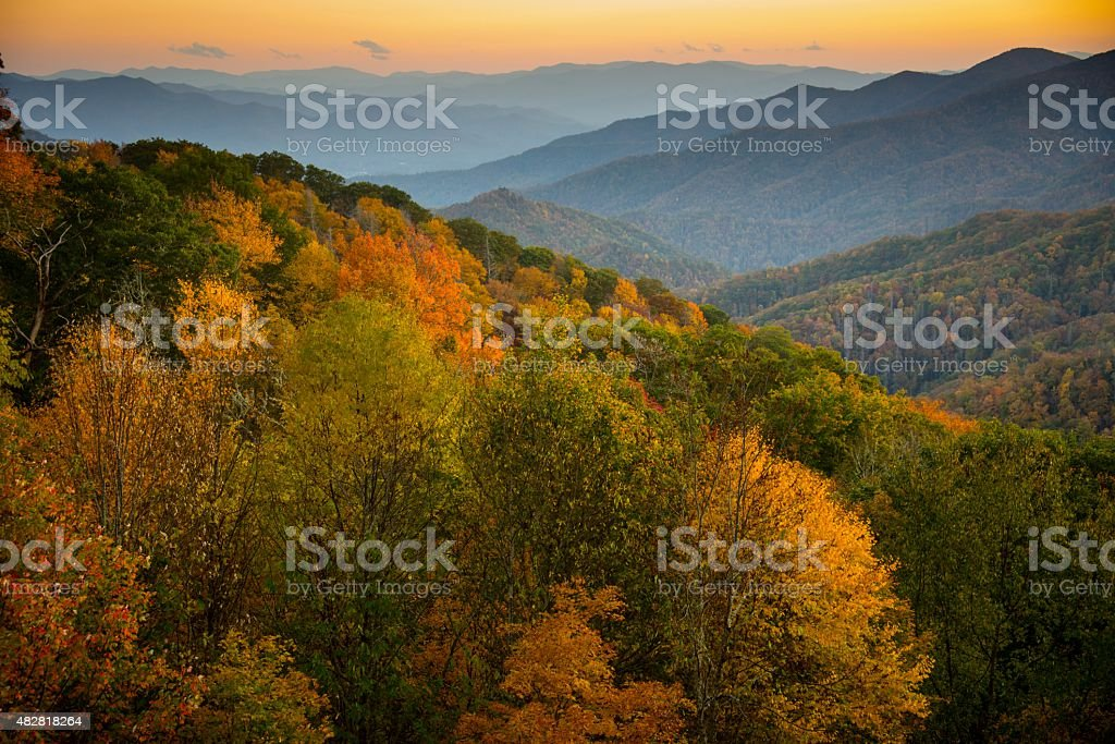 Great Smoky Mountains National Park in October stock photo