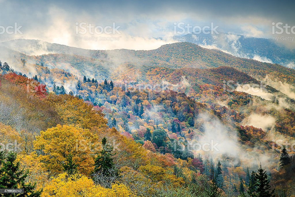 Great Smoky Mountains National Park - Newfound Gap Sunrise stock photo