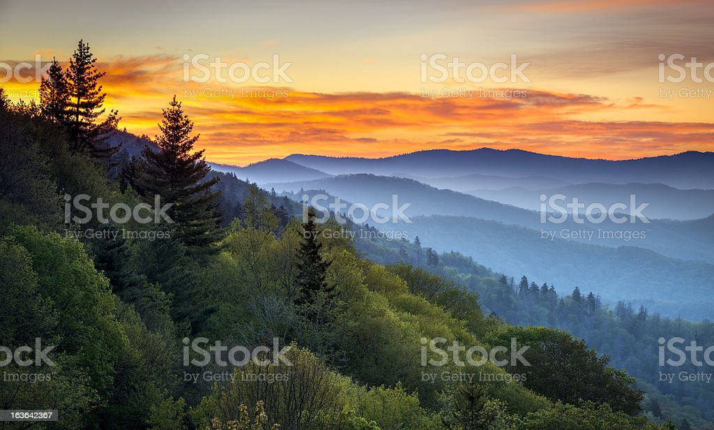 Great Smoky Mountains National Park Scenic Sunrise Landscape at Oconaluftee stock photo