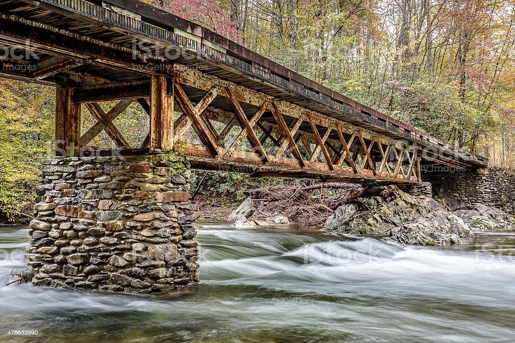 Great Smoky Mountains National Park Stream under Bridge stock photo