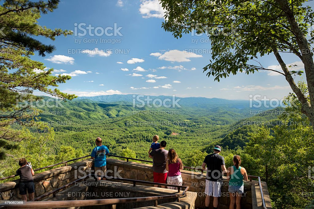 Great Smoky Mountains Overlook on Foothills Parkway West stock photo