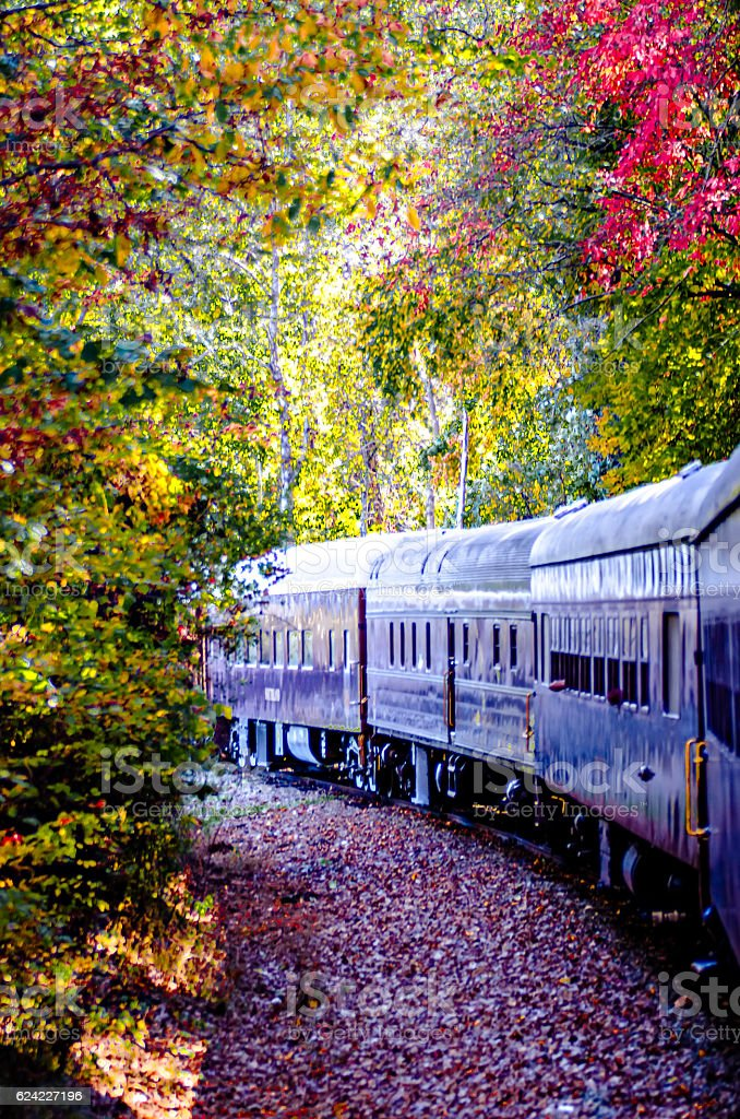 great smoky mountains rail road train ride stock photo