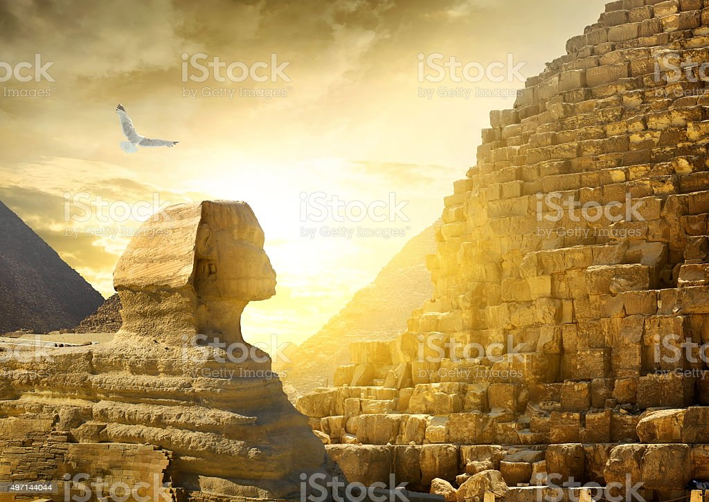 Great sphinx and pyramids stock photo