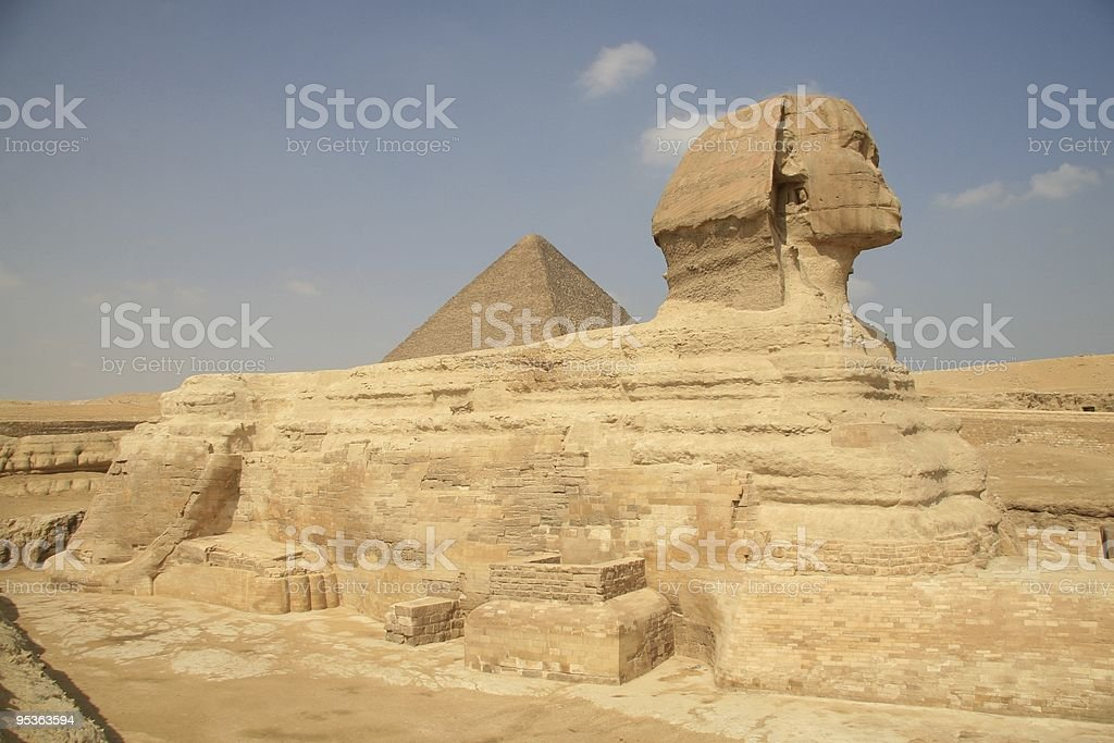 Great Sphinx and the Pyramid of Khafre, Giza Plateau Egypt royalty-free stock photo