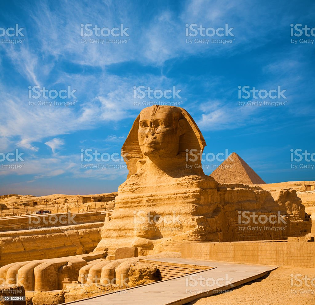 Great Sphinx Body Blue Sky Pyramid Giza Egypt stock photo
