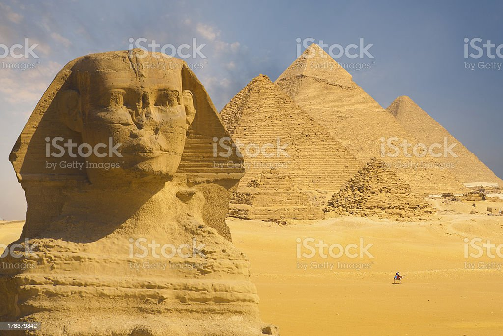 Great Sphinx Face Pyramids Background stock photo