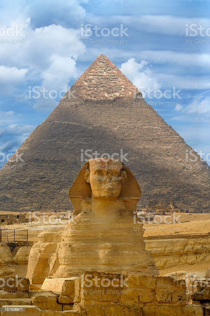 Great Sphinx of Giza against the Great Pyramid, Giza, Egypt royalty-free stock photo
