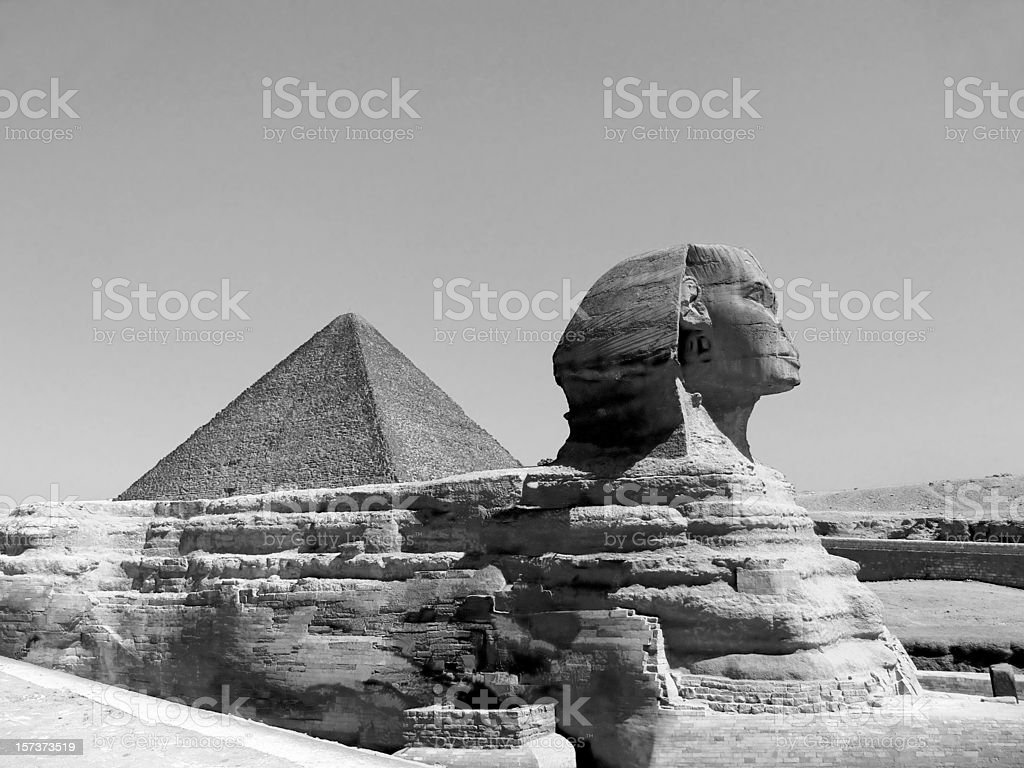 Great Sphinx of Giza B&W stock photo