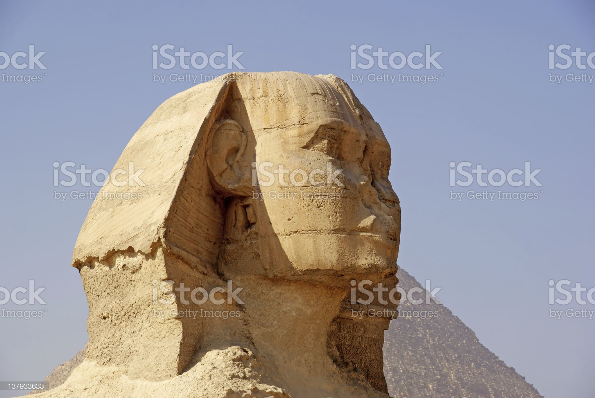 Great Sphinx (Giza), with Pyramid of Khafra in the background royalty-free stock photo