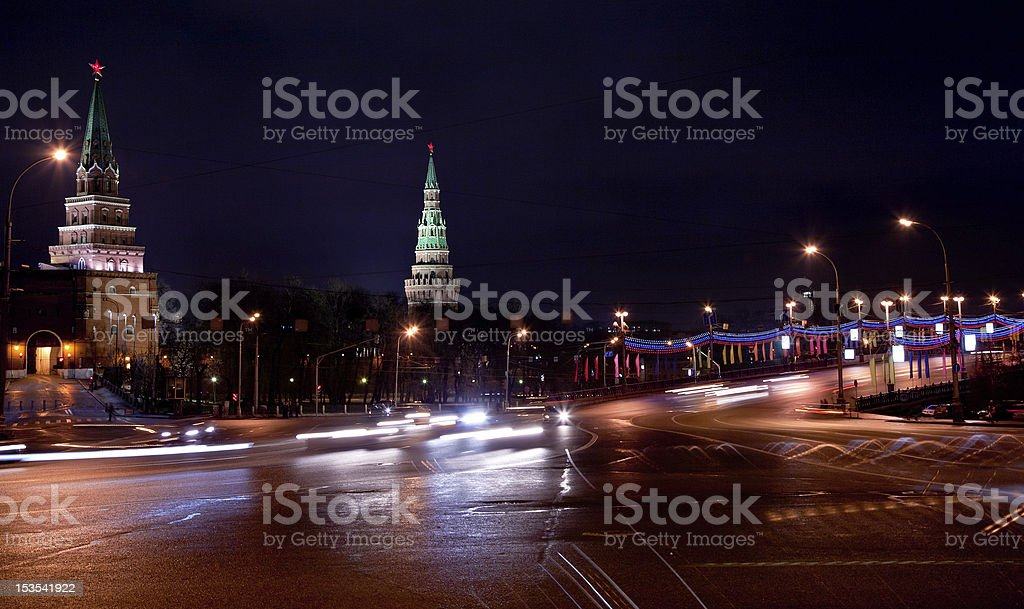 Great Stone Bridge and Kremlin in Moscow at night royalty-free stock photo