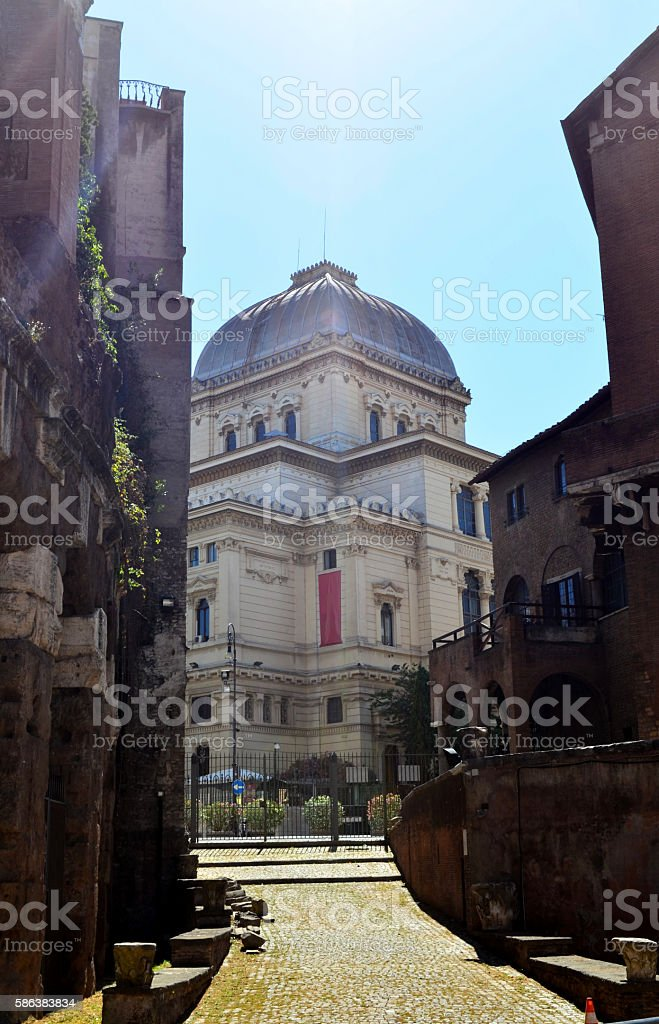 Great Synagogue of Rome and Ruins stock photo