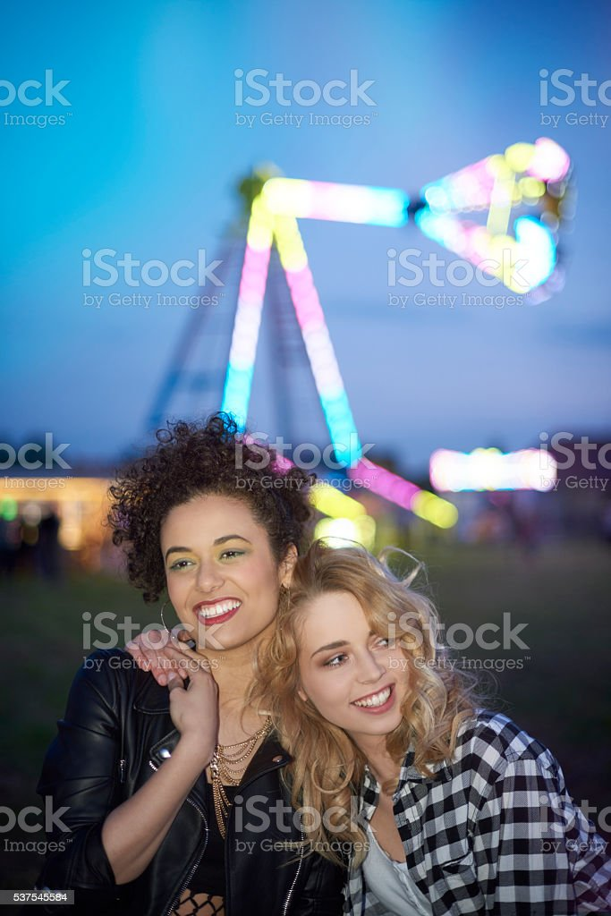 Great time in the amusement park stock photo