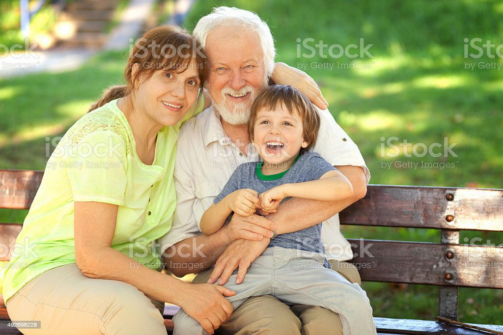 Great time with grandparents stock photo