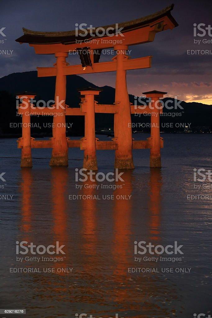 Great Torii of Itsukushima shrine at nightfall. Miyajima-Japan. 7033 stock photo