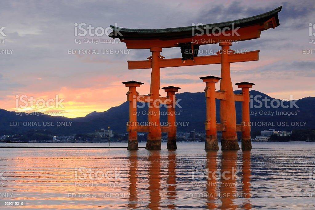 Great Torii of Itsukushima shrine at sunset. Miyajima-Japan. 7017 stock photo