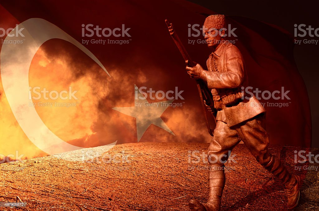 Great Turkish soldier and  flag stock photo