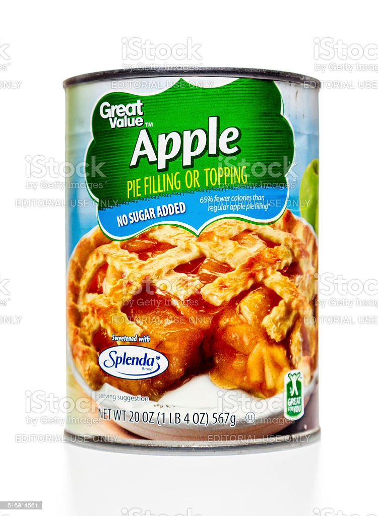 Great Value apple pie filling or topping can stock photo