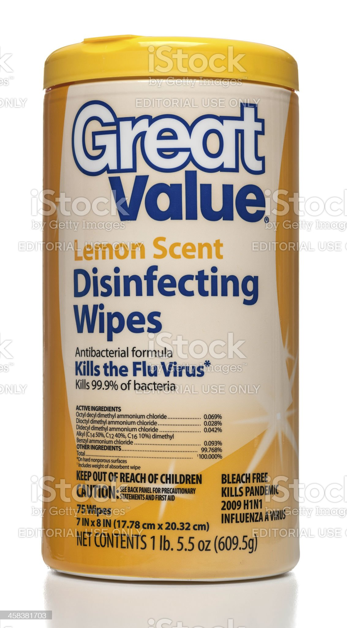 Great Value lemon scent disinfecting wipes canister royalty-free stock photo