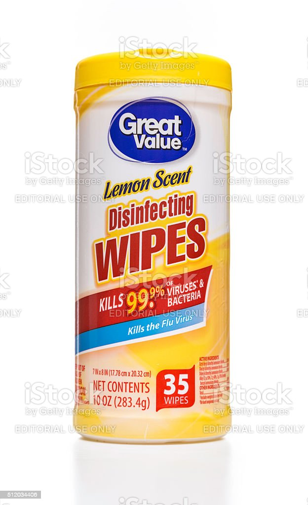 Great Value lemon scent disinfecting wipes canister stock photo