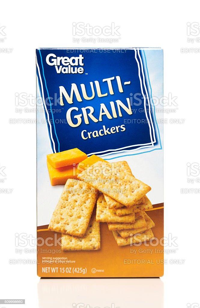 Great Value Multi-Grain crackers box stock photo