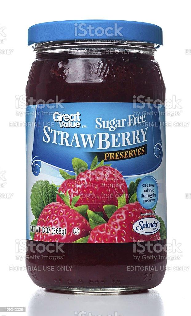 Great Value Sugar Free Strawberry Preserves jar stock photo