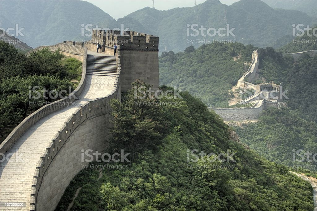 A great view along the Great Wall of China stock photo