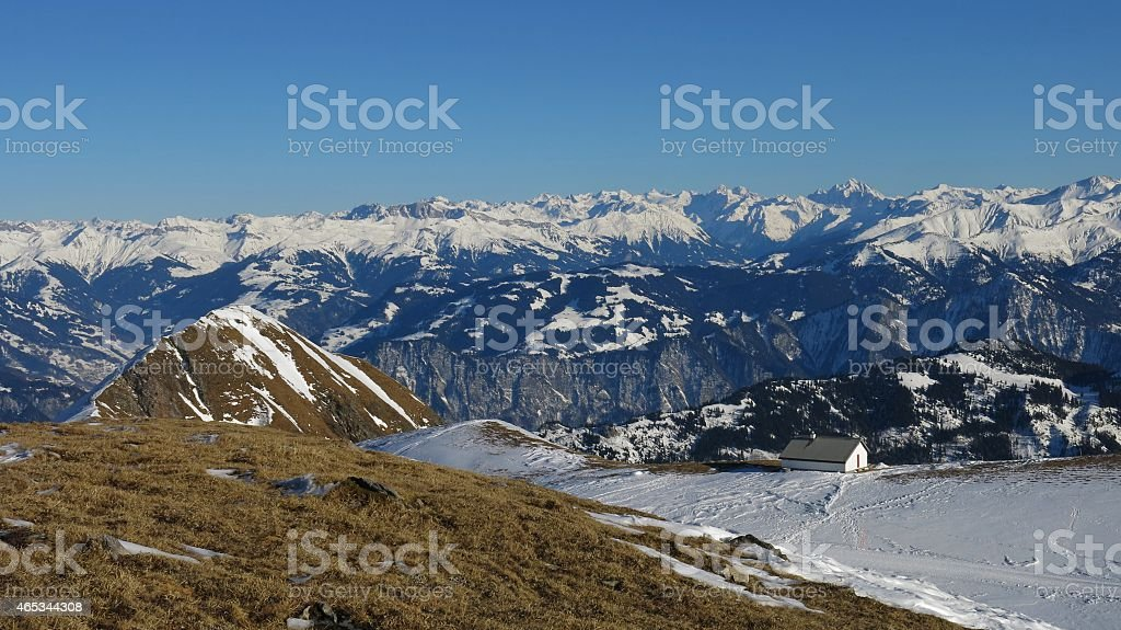 Great view from the Pizol ski area stock photo