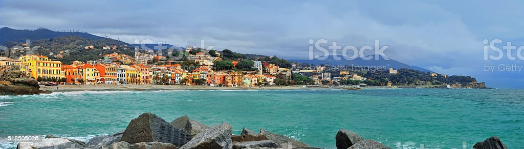 great view of Celle Ligure in Italy stock photo