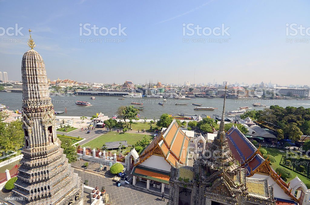 Great view of the Chao Phraya River in Bangkok stock photo