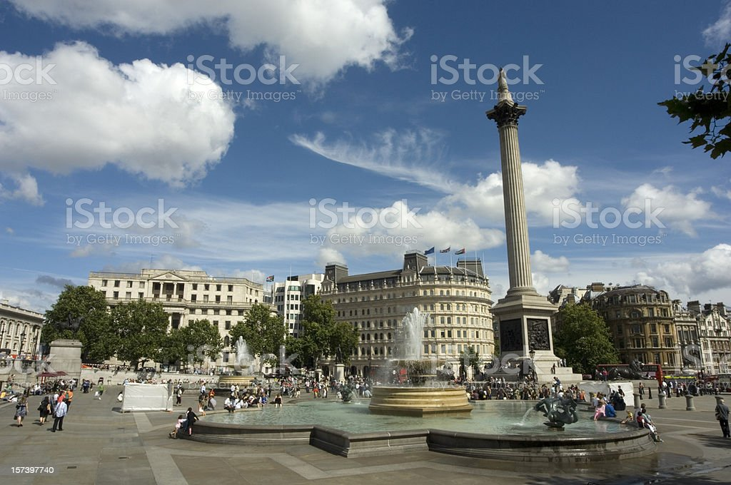 Great view of Trafalgar square with water fountain stock photo