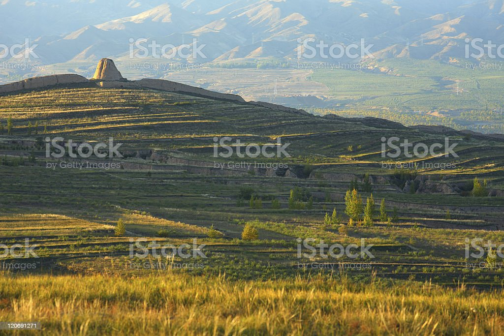 great wall and beacon in sunset royalty-free stock photo