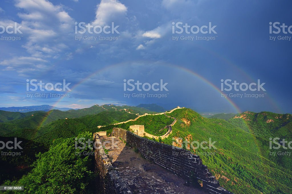 Great Wall and Double Rainbow stock photo