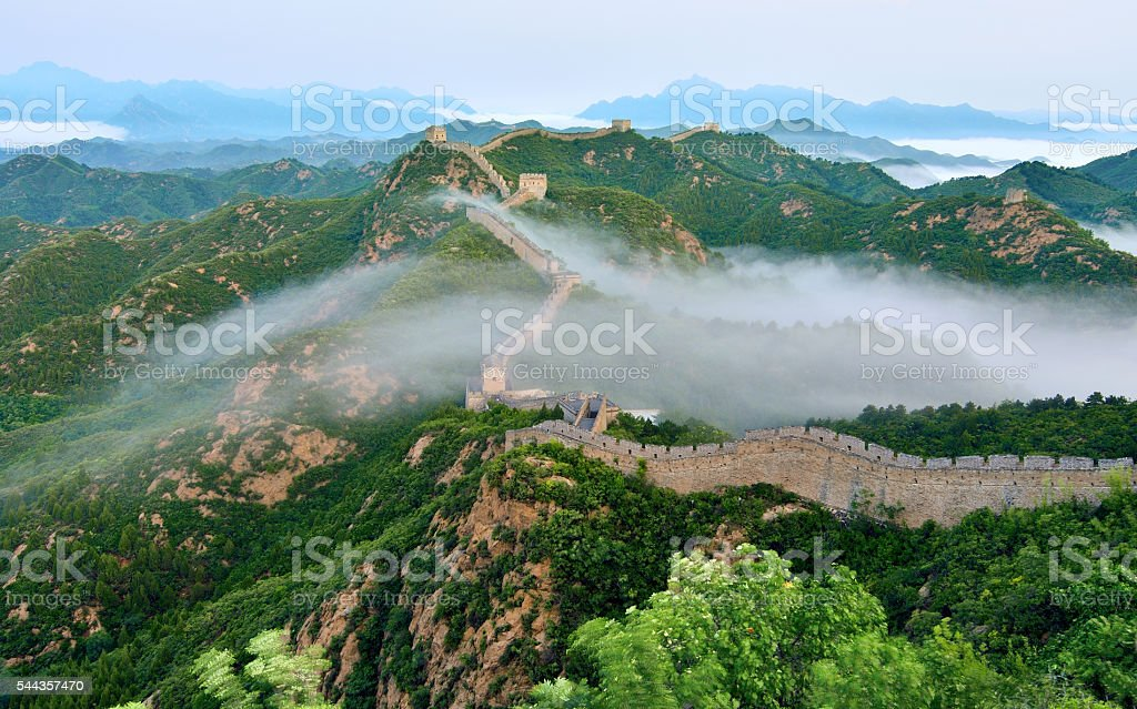 Great wall at stratosphere fog in sunrise stock photo