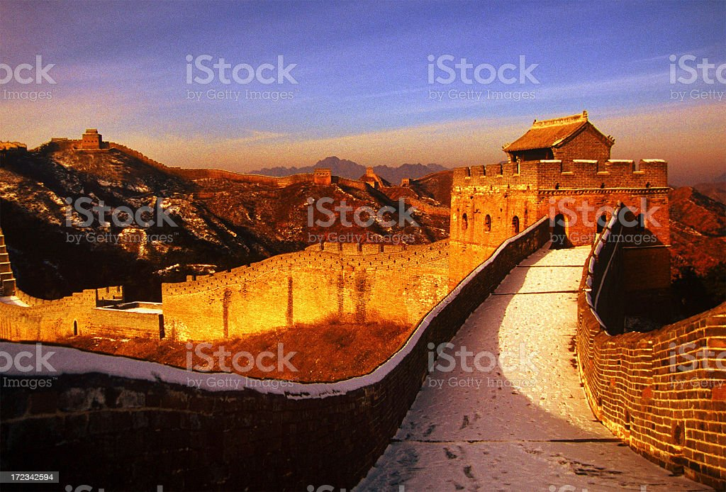 Great Wall at Sunset stock photo