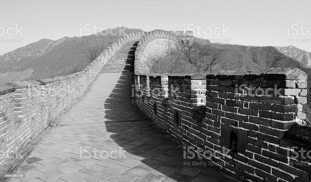 Great Wall in black and white stock photo