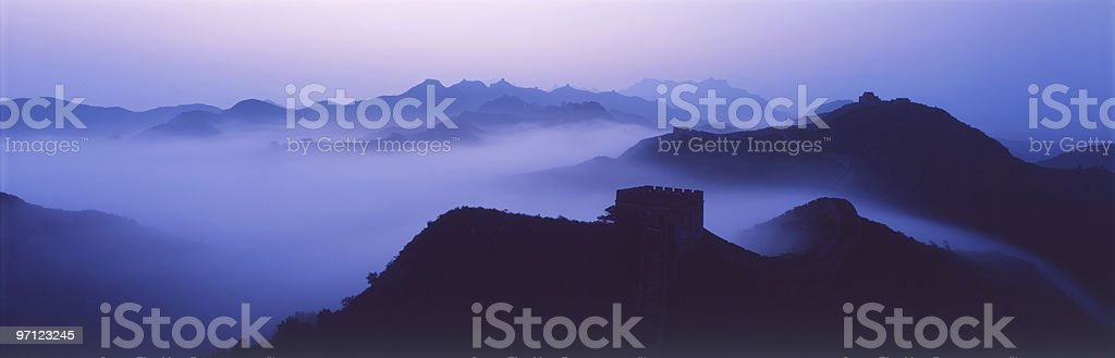 Great wall in mist stock photo
