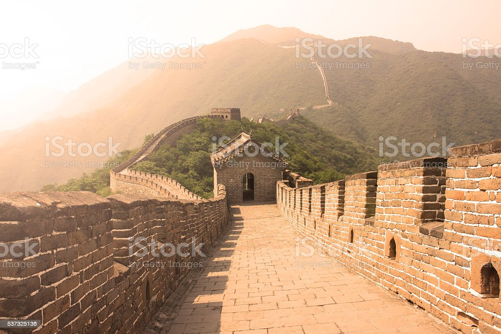Great Wall in summer, Mutianyu, China stock photo