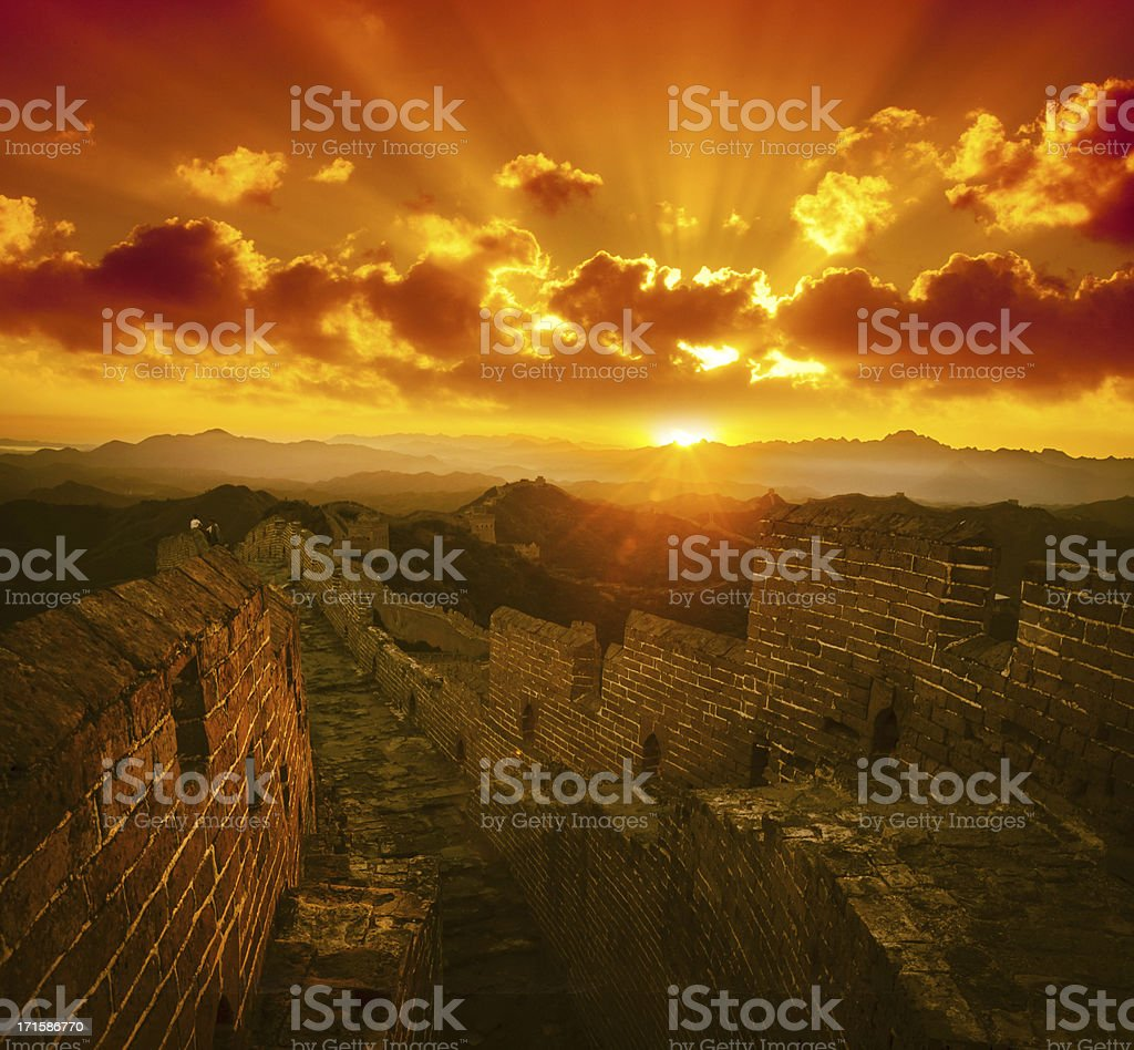 Great Wall in the sunset royalty-free stock photo