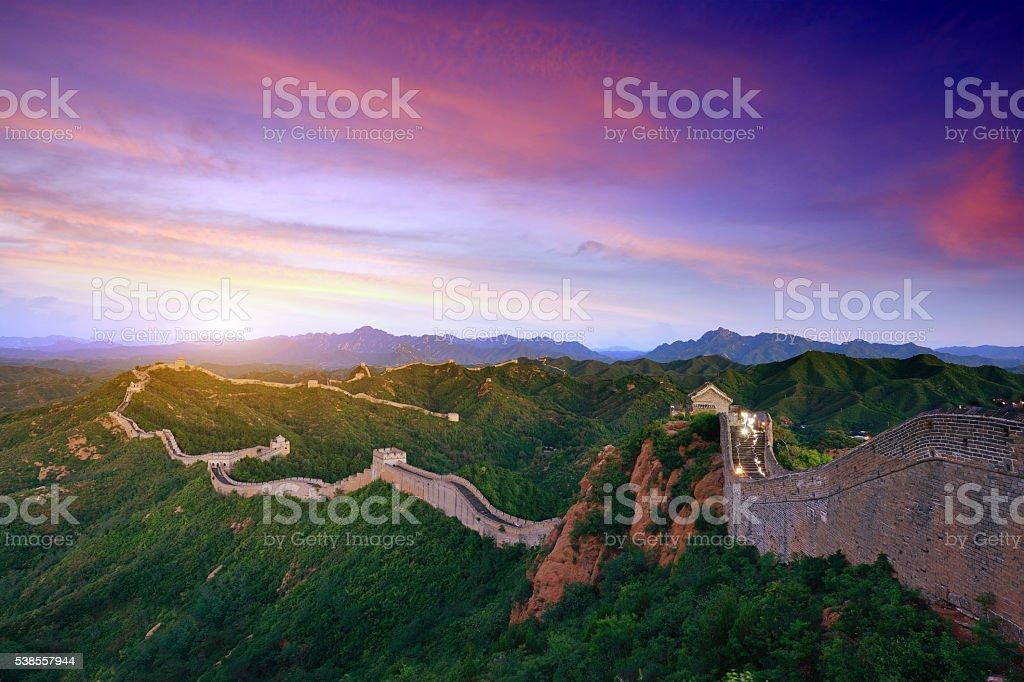 Great wall of China at Sunset stock photo