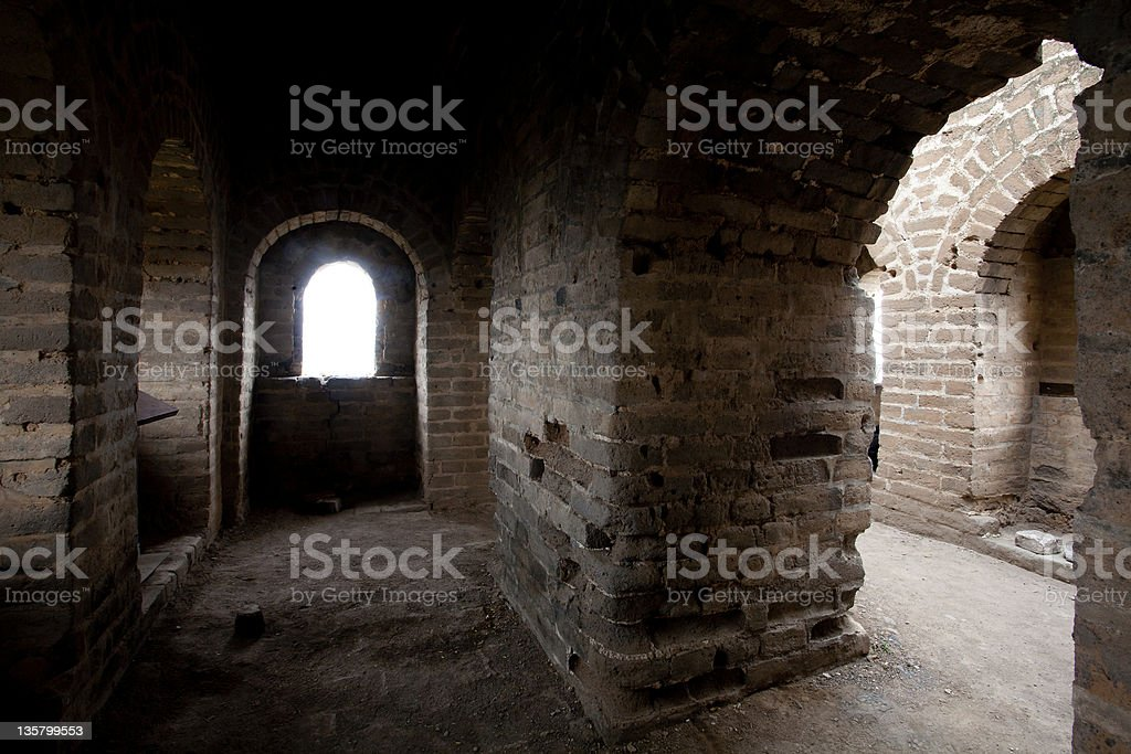 Great Wall of China bunker royalty-free stock photo