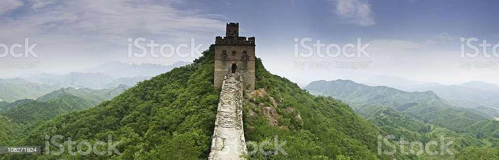 Great Wall of China green mountains royalty-free stock photo