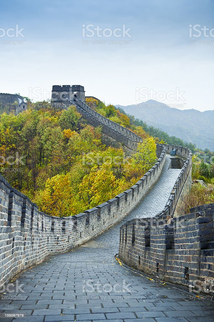 Great wall of China in autumn stock photo