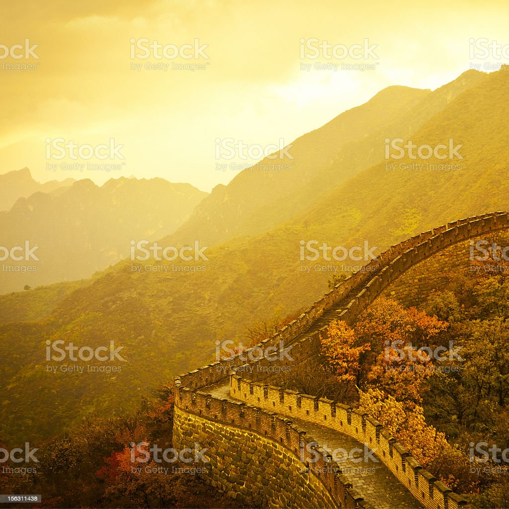 Great wall of China in autumn royalty-free stock photo
