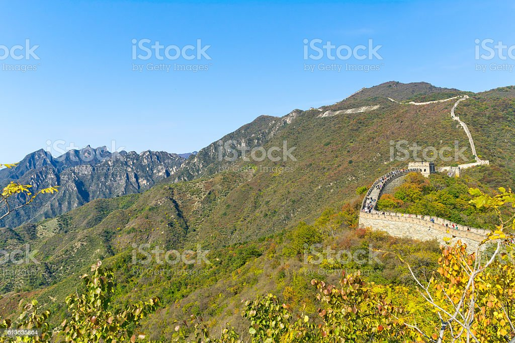 Great Wall of China in Fall stock photo