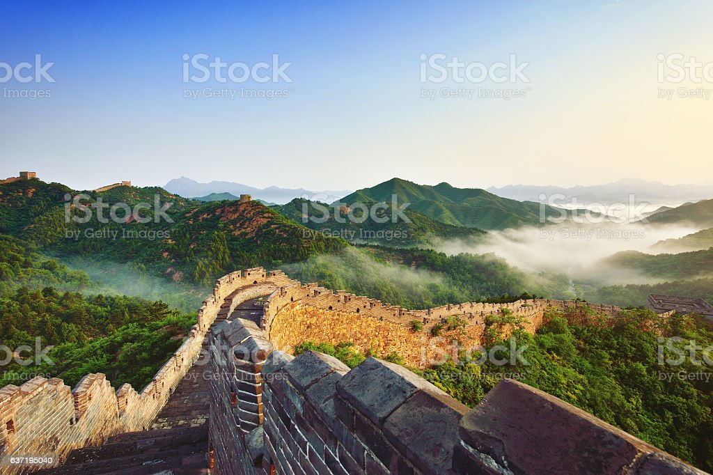 Great Wall of China in Morning stock photo