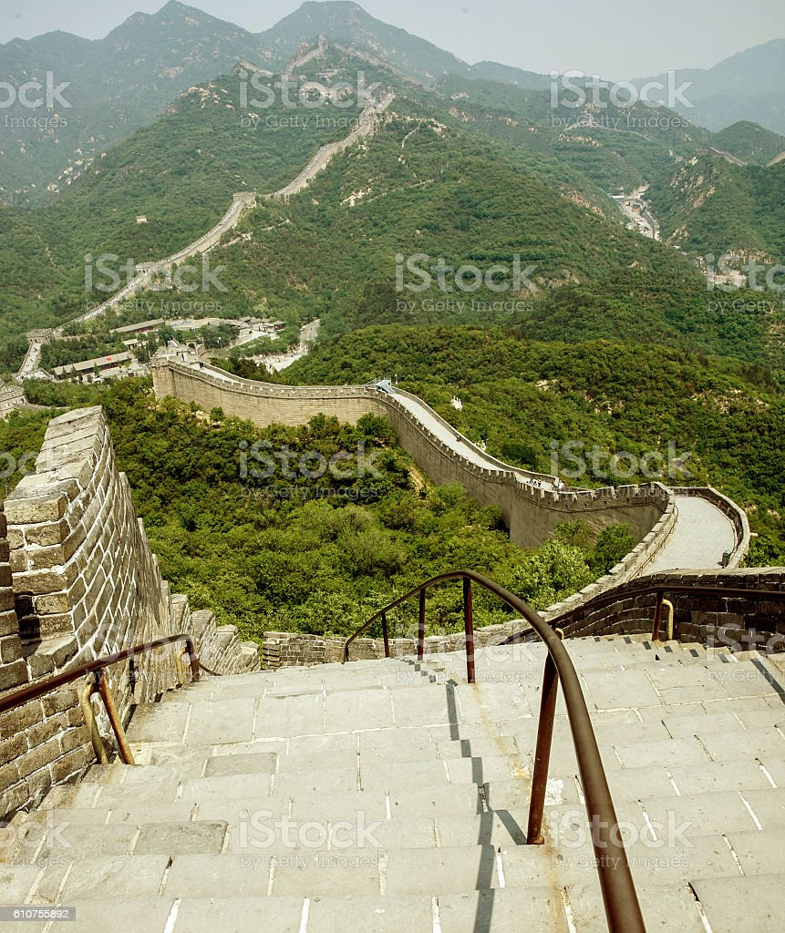 Great Wall of China in spring stock photo