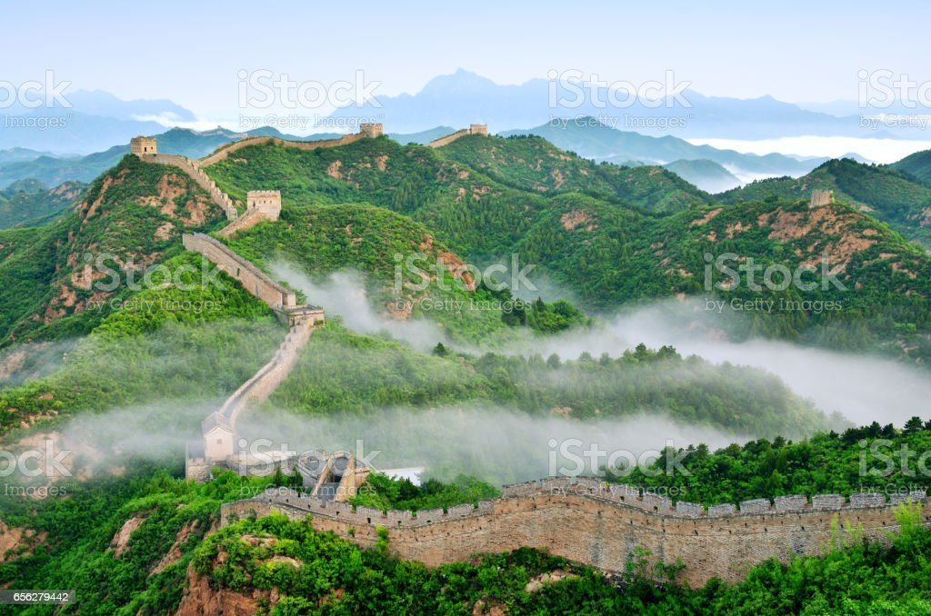 Great Wall of China in Stratosphere Fog, China stock photo